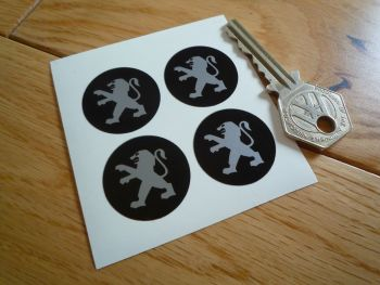 Peugeot Plain Style Black & Silver Wheel Centre Style Stickers. Set of 4. 28mm.
