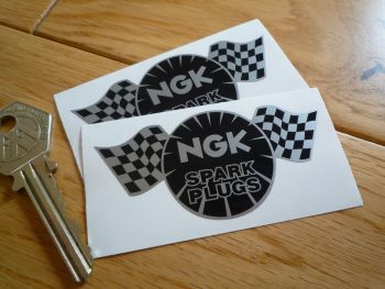 "NGK Spark Plugs Chequered Flag Black & Silver Stickers. 3"" Pair."