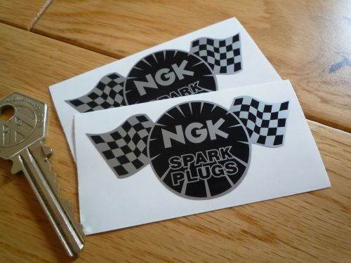 NGK Spark Plugs Chequered Flag Black & Silver Stickers. 3