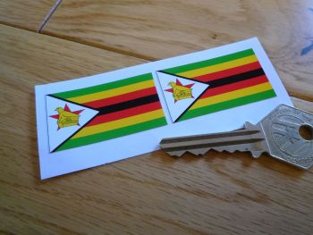 Zimbabwe Flag Stickers. 45mm Pair.