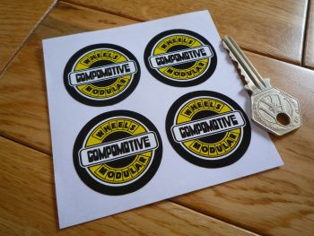 Compomotive Wheels Black, Yelllow, & White Circular Stickers. Set of 4. 40mm.