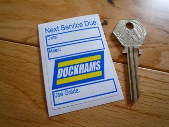 "Duckhams 'Next Service Due' Sticker. 2.5""."