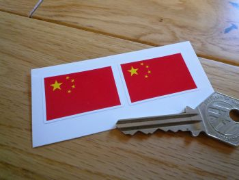 China Flag Stickers. 38mm Pair.