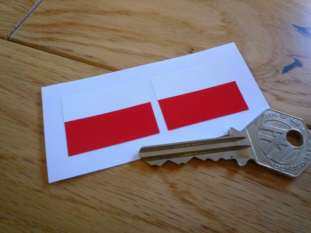 Poland Flag Stickers. 33mm Pair.