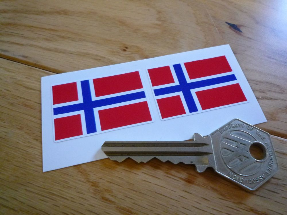 Norway Flag Stickers. 38mm Pair.