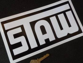"STAW Rally Black & White Oblong Sticker. 9""."