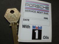 """Mobil One Porsche Service Next Due Sticker. 3""""."""