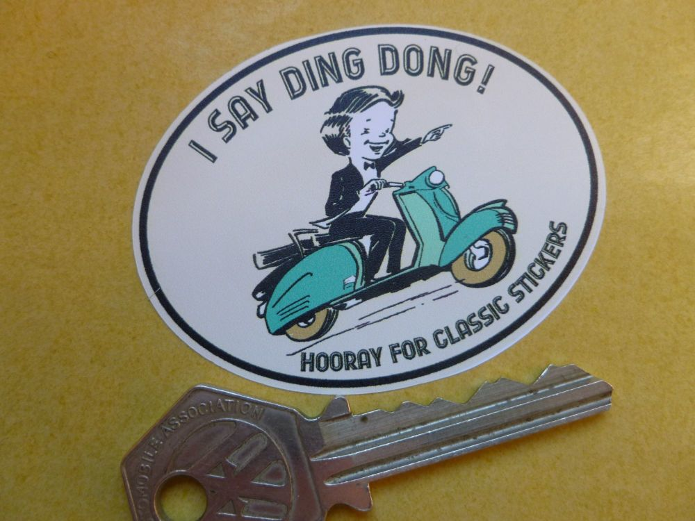 I Say Ding Dong Scooter Style Stickers. 62mm Pair.