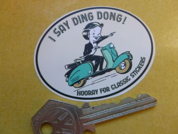 2 x I Say Ding Dong Scooter Style Stickers. 62mm.