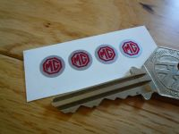 MG Red & Silver Circular Stickers. Set of 4. 10mm.