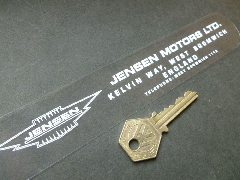 "Jensen Motors Kelvin Way West Bromwich White on Clear Window or Car Body Sticker. 8""."
