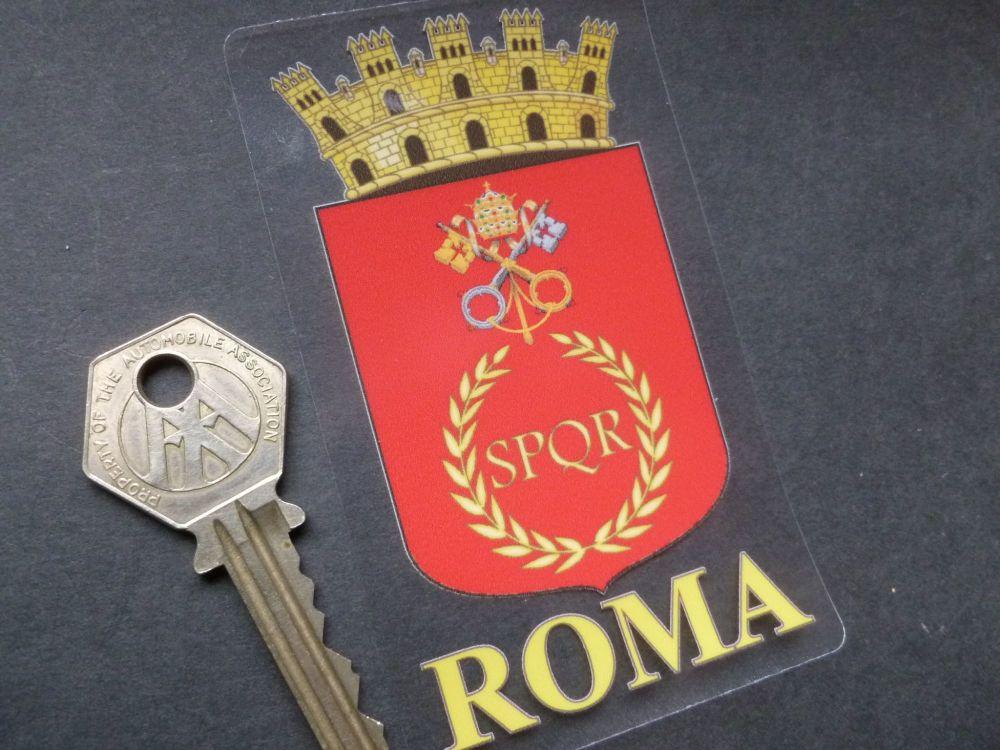 "Roma Crest Sticker. 4""."