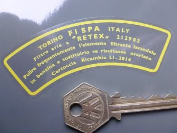 "FISPA Torino Italy Air Filter Air Con Sticker. Ferrari Maserati etc. 3.75""."