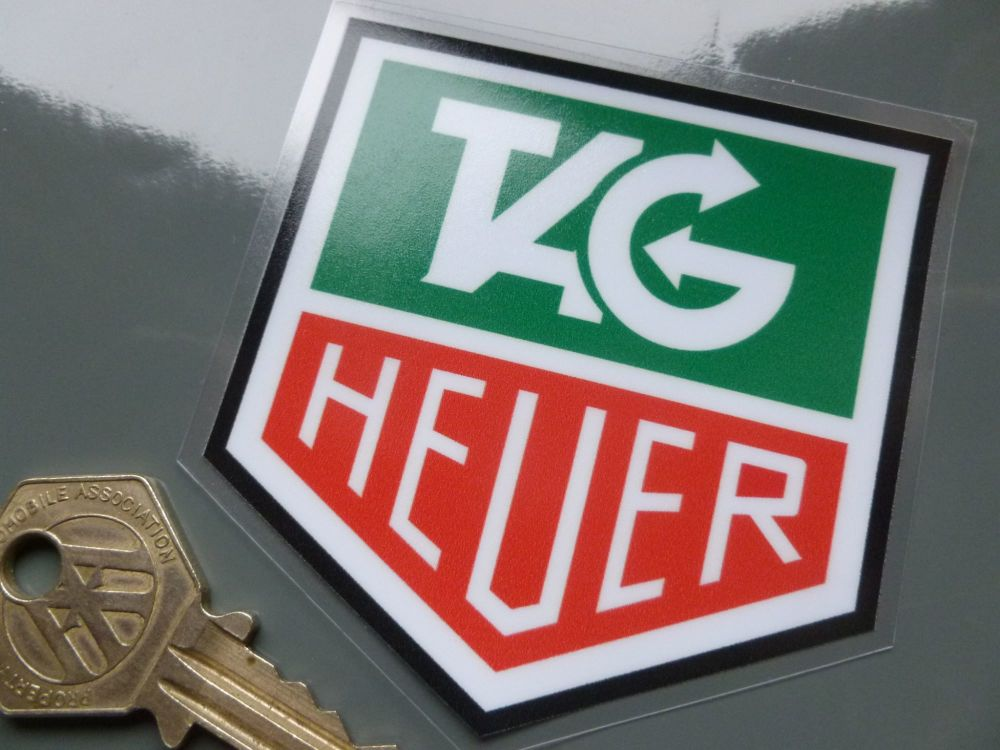"""Tag Heuer Black Outline Full Colour Window Sticker. 3""""."""