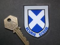 "Ecurie Ecosse Scottish Saltire Shield Window Sticker. 2.5""."
