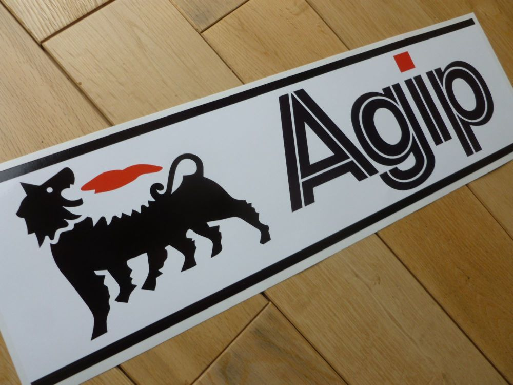 "Agip Black & White Oblong Sticker. 16.5""."