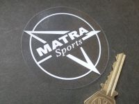Matra Sports White on Clear Circular Window Sticker. 70mm.
