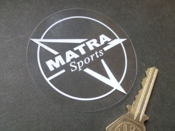 Matra Sports White on Clear Circular Window Sticker. 70mm.