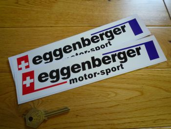 "Eggenberger Motor-Sport Printed Oblong Stickers. 10"" Pair."