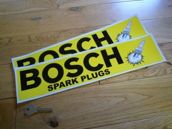 "Bosch Spark Plugs Black Text & Bang Stickers. 14.75"" Pair."