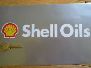 """Shell Oils Cut Text and Modern Logo Stickers. 9.75"""" Pair."""