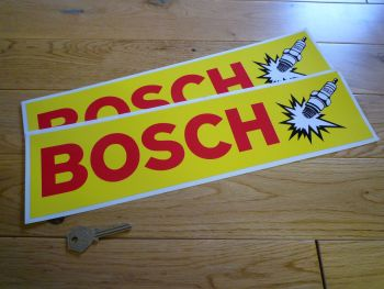 "Bosch Spark Plugs Yellow Oblong Stickers. 15.5"" Pair."