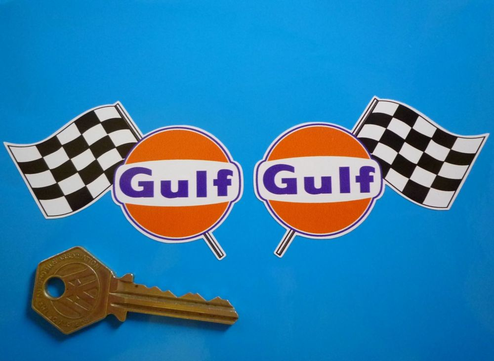 Gulf Logo & Chequered Flag Handed Stickers. 3