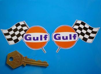 "Gulf Logo & Chequered Flag Handed Stickers. 3"", 4"", 6"" or 11"" Pair."