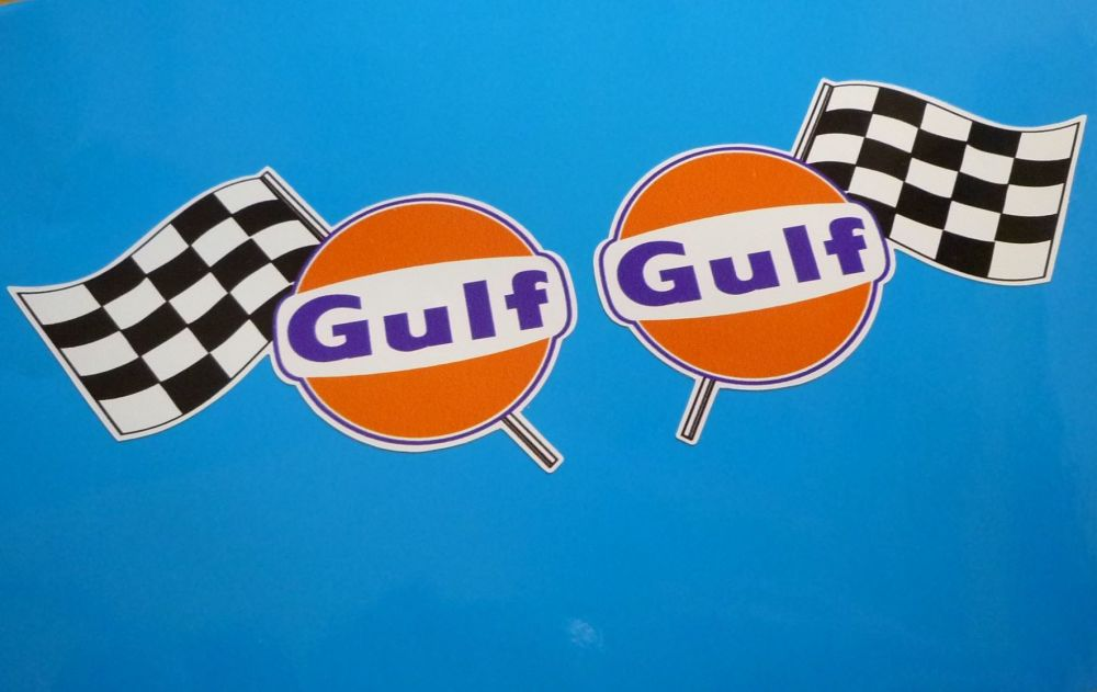 """Gulf Logo & Chequered Flag Handed Stickers. 16"""" Pair."""