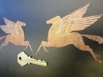 "Mobil Pegasus Shaped Rusty Style Stickers. 4"" or 6"" Pair."
