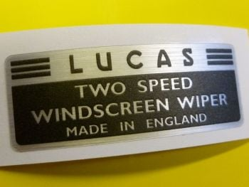 "Lucas Two Speed Windscreen Wiper Brushed Foil Sticker. 2.5""."