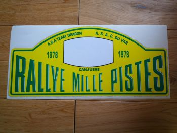 "Rallye Mille Pistes 1978 Rally Plate Sticker. 15"". Slight Second 067."