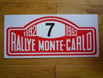 "Rallye Monte-Carlo 1992 #7 Rally Plate Sticker. 16"". Slight Second 032."