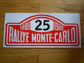 "Rallye Monte-Carlo 1989 #25 Rally Plate Sticker. 16"". Slight Second 125."