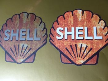 "Shell Classic Shaped Rusty Style Stickers. 4"" Pair."