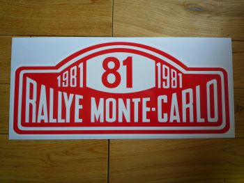 "Rallye Monte-Carlo 1981 #81 Rally Plate Sticker. 16"". Slight Second 022."