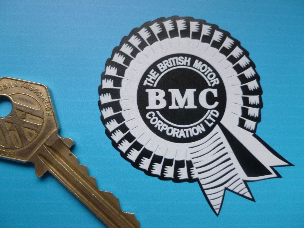 "BMC Small White on Matt Black Rosette Stickers. 2.25"" or 2.75"" Pair."