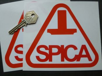 """SPICA Later Style Fuel Injection Red & White Triangular Stickers. 5.25"""" Pair."""