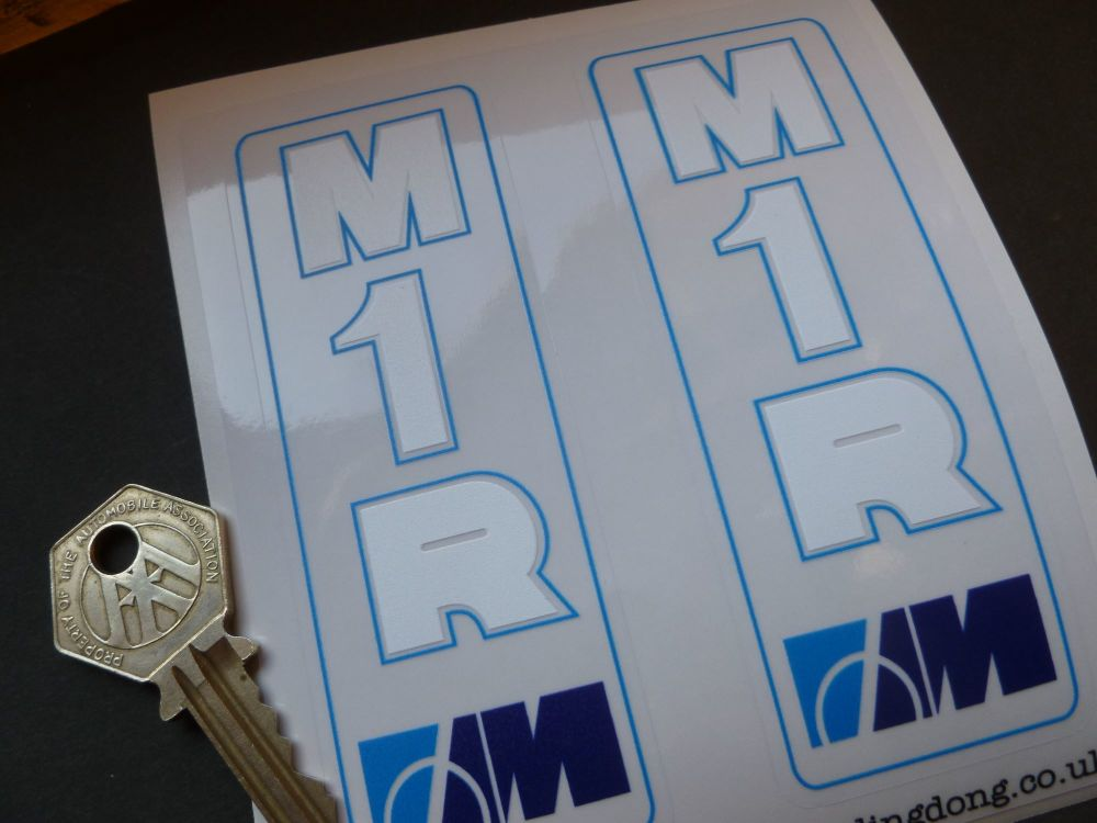 """Marzocchi M1R Blue Frame & Outline Style White & Blue Clear Vinyl Stickers. 4.25"""" Pair."""