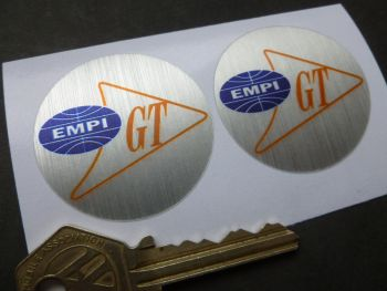 EMPI GT Orange, Blue, & Brushed Foil Stickers. 42mm Pair.