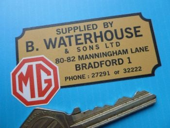 "MG B Waterhouse and Sons Bradford Dealers Sticker. 2.75""."