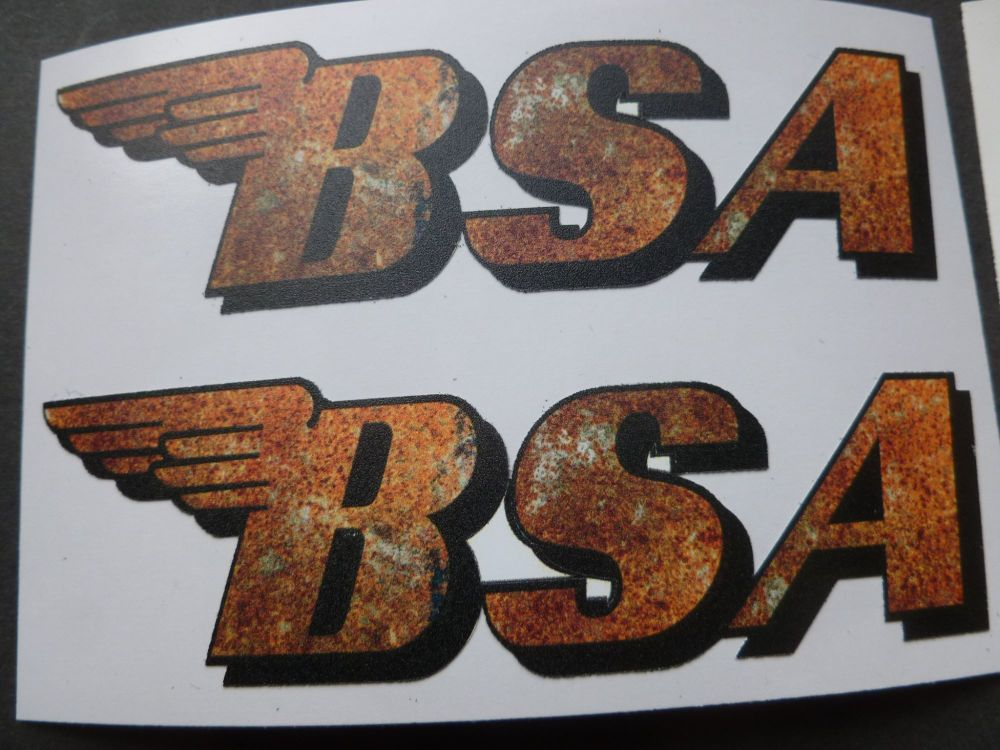 """BSA Shaped Rusty Style Stickers. 4"""" Pair."""