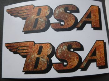 "BSA Shaped Rusty Style Stickers. 4"" Pair."