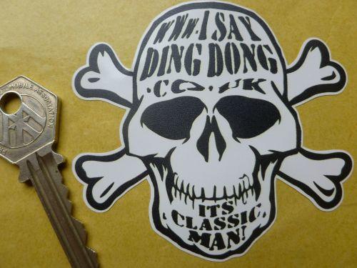 I Say Ding Dong Skull & Crossbones Style Sticker.