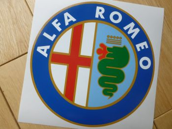 "Alfa Romeo Circular Logo White Text Sticker. 7.25""."