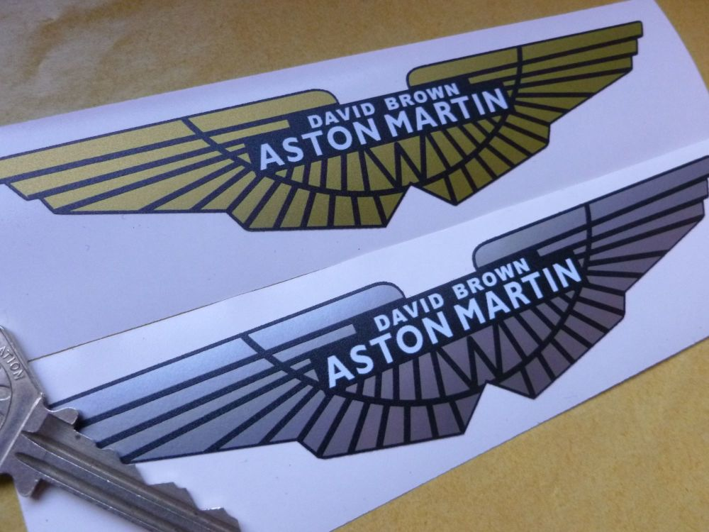 "Aston Martin David Brown Style Winged Logo Stickers. 4"" or 6"" Pair."