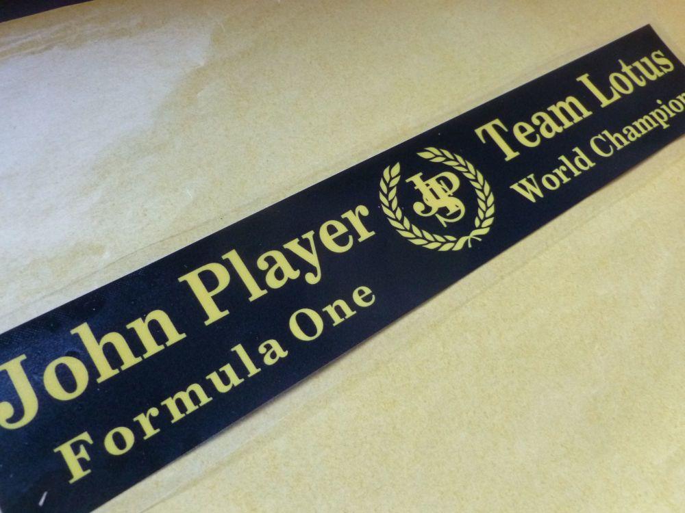 "John Player Team Lotus F1 World Champions Window Sticker. 10""."