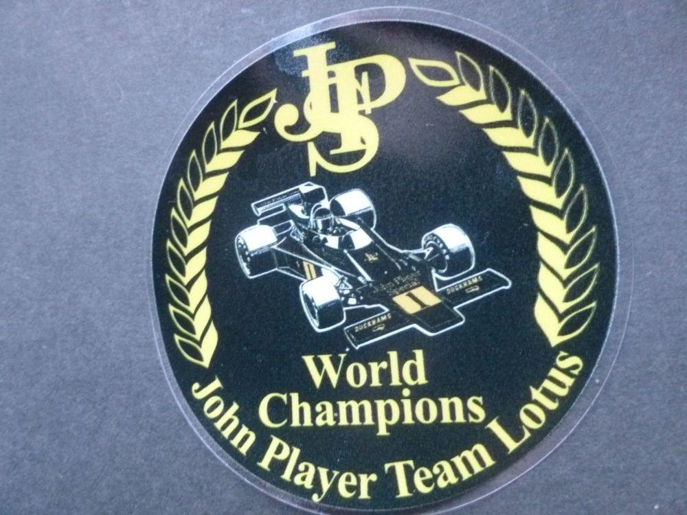 "John Player Team Lotus F1 World Champions Circular Window Sticker. 3""."
