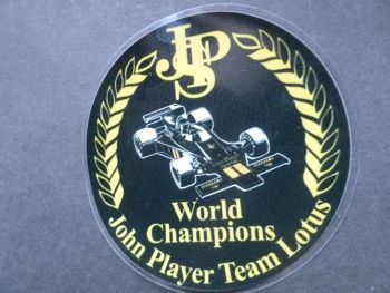 "John Player Team Lotus F1 World Champions Circular Window Sticker. 3""."