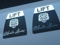 "Austin Healey Style Seat Belt Lift Shaped Stickers. 1"" Pair."